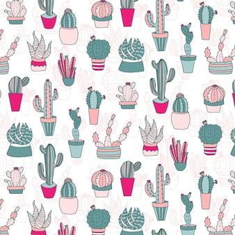 Motif de cactus de couleur pâle