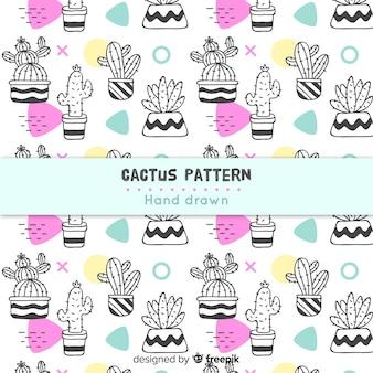 Motif de cactus dessiné main incolore