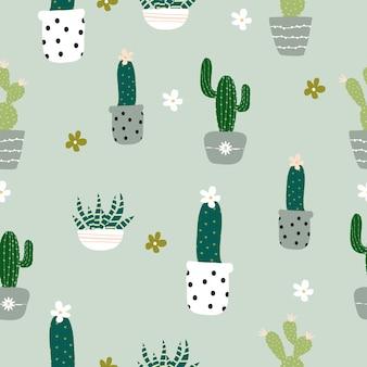 Motif de cactus dessiné main mignon