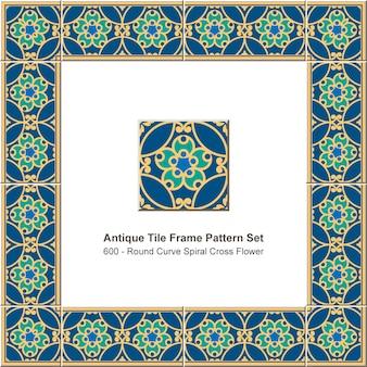 Motif de cadre de tuile antique mis rond courbe croix fleur en spirale, décoration céramique.