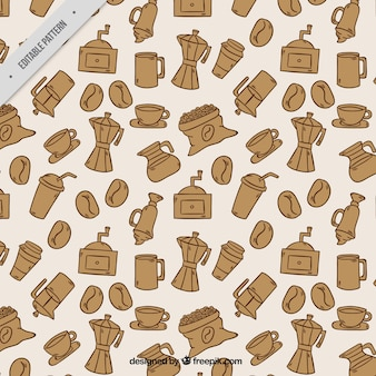 Motif cafetière et éléments de café dessinés à la main