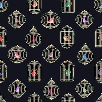 Motif de cages à oiseaux en or.