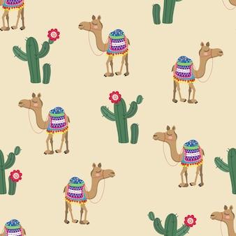 Motif camel et cactus