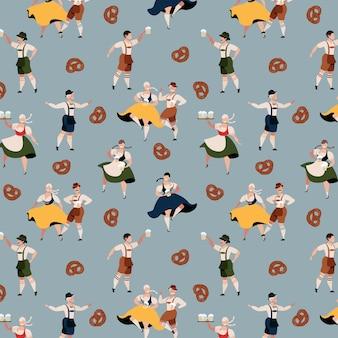 Motif de caractères oktoberfest. fête de la bière en allemagne. fête traditionnelle bavaroise d'octobre. les gens en costumes traditionnels de l'oktoberfest. vêtements traditionnels allemands. design tendance dessiné à la main.