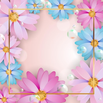 Motif carré avec cadre de fleurs et place pour le texte