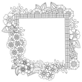 Motif carré en forme de mandala avec fleur pour henné, mehndi, tatouage, décoration. ornement décoratif dans un style oriental ethnique. page de livre de coloriage.