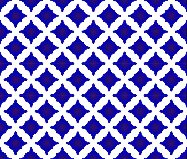 Motif de carreaux, design en céramique bleue et blanche, fond transparent en porcelaine