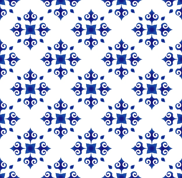 Motif de carreaux floral abstrait bleu et blanc, fond de porcelaine