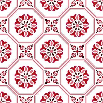 Motif de carrelage, fond transparent floral décoratif coloré, illustration vectorielle de beau papier peint en céramique décor