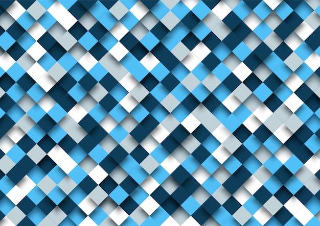 Motif de carrés modernes 3d sur fond bleu