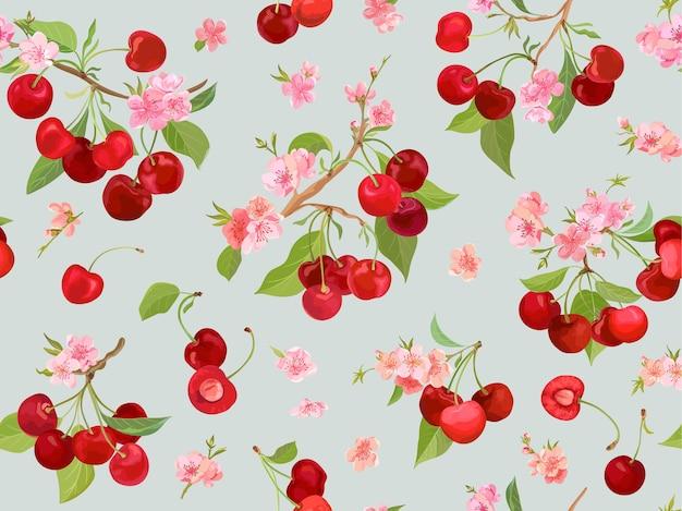 Motif de cerise sans couture avec des baies d'été, des fruits, des feuilles, un fond de fleurs. illustration vectorielle dans un style aquarelle pour la couverture de printemps, la texture du papier peint, la toile de fond d'emballage, l'emballage vintage