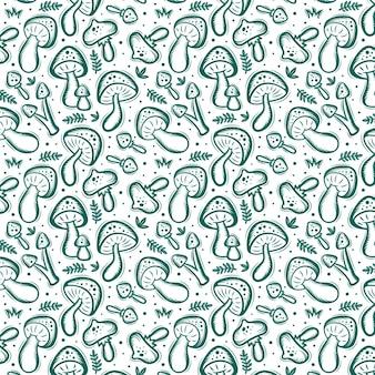 Motif de champignon dessiné à la main de gravure