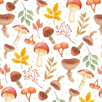 Motif champignon peint à la main