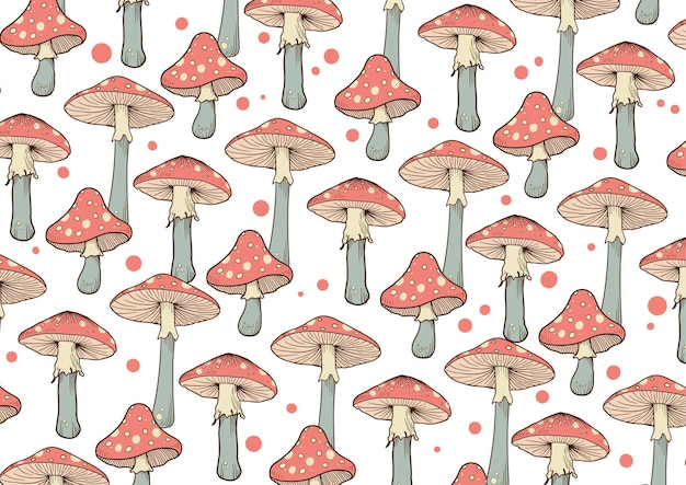 Motif de champignons dessinés à la main