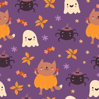 Motif chat et fantôme d'halloween