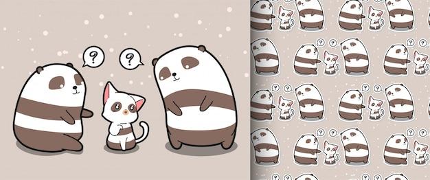 Motif de chat kawaii sans couture et de 2 personnages panda