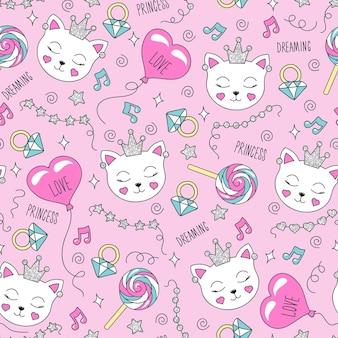 Motif chat mignon sur fond rose. modèle sans couture tendance coloré. illustration de mode dessin dans un style moderne pour les vêtements. dessin de vêtements pour enfants, de t-shirts, de tissus ou d'emballages.