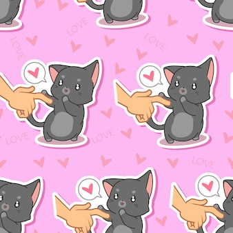 Motif de chat sans couture belle.