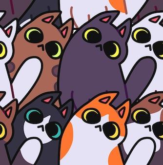 Motif de chat sans couture fond d'animaux de dessin animé idéal pour le papier d'emballage de papier peint en tissu