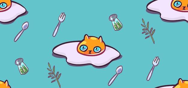 Motif de chat sans couture fond d'animaux de dessin animé idéal pour le papier peint en tissu