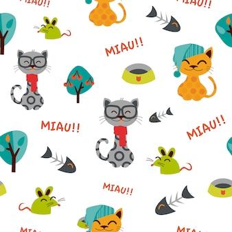 Motif de chats drôles avec des chapeaux.