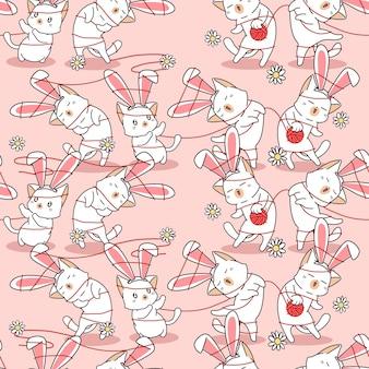 Motif de chats et de fleurs de lapin sans couture