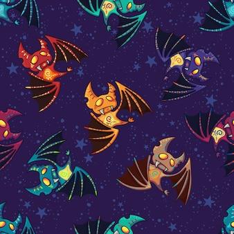 Motif de chauve-souris tribal dessiné main mignon pour happy halloween