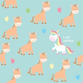 Motif cheval et licorne