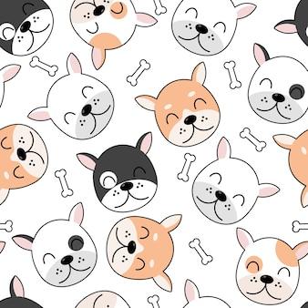 Motif de chiens mignons, fond d'écran sans soudure de différents chiens.