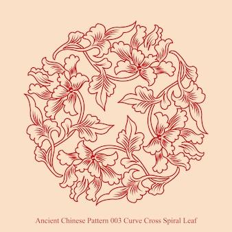Motif chinois ancien de feuille en spirale croisée courbe