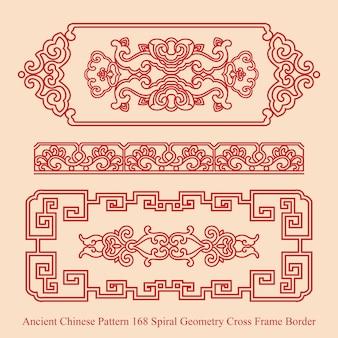 Motif chinois ancien de la frontière du cadre croisé géométrie spirale