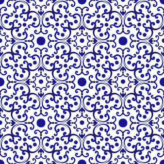 Motif chinois bleu et blanc