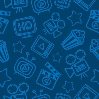 Motif cinéma doodles, possibilité de montage, format eps 10