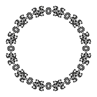 Motif circulaire damassé cadre avec éléments floraux vintage décoratifs noir et blanc