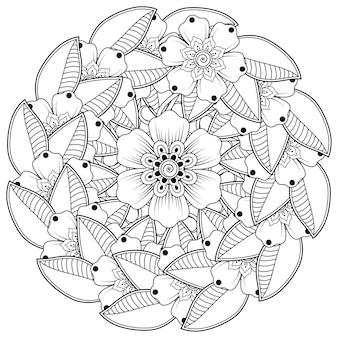Motif circulaire en forme de mandala avec décoration florale. décoration florale mehndi dans un style ethnique oriental, indien.