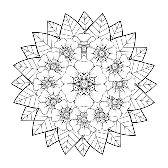 Motif circulaire en forme de mandala avec fleur. décoration florale mehndi dans un style ethnique oriental, indien.