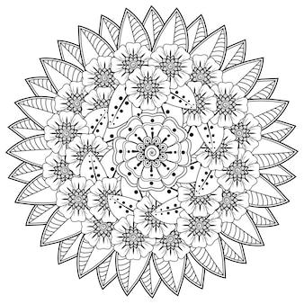Motif Circulaire En Forme De Mandala Avec Fleur Henné Mehndi Décoration De Tatouage Ornement Décoratif En Page De Livre De Coloriage De Style Oriental Ethnique Vecteur Premium
