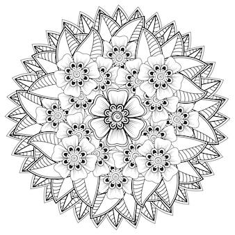 Motif circulaire en forme de mandala avec fleur henné mehndi décoration de tatouage ornement décoratif en page de livre de coloriage de style oriental ethnique