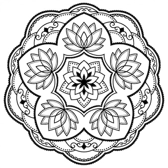 Motif circulaire en forme de mandala avec fleur de lotus pour henné, mehndi, tatouage, décoration. ornement décoratif dans un style oriental ethnique. doodle de contour