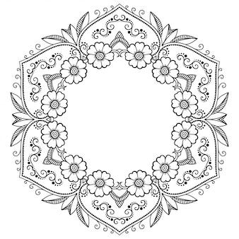 Motif circulaire en forme de mandala avec fleur. ornement décoratif dans un style oriental ethnique. contour doodle main dessiner illustration.
