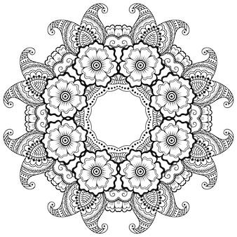 Motif circulaire en forme de mandala avec fleur. ornement décoratif dans un style oriental ethnique. illustration de dessin de main de doodle de contour.