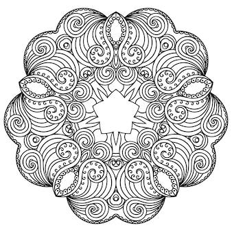 Motif circulaire en forme de mandala avec fleur. ornement décoratif de style oriental ethnique. illustration de dessin à la main doodle contour.