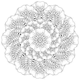 Motif circulaire en forme de mandala avec fleur pour la décoration de tatouage au henné mehndi. décoration de fleurs mehndi dans un style indien oriental ethnique.