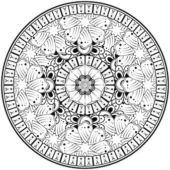 Motif circulaire en forme de mandala avec fleur pour la décoration de tatouage au henné mehndi