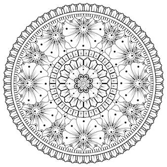 Motif Circulaire En Forme De Mandala Avec Fleur Pour La Décoration De Tatouage Au Henné Mehndi Vecteur Premium