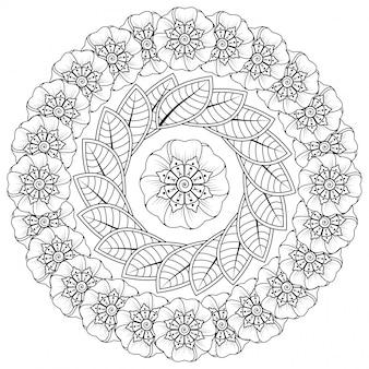 Motif circulaire en forme de mandala avec fleur pour henné, mehndi, tatouage, décoration. décoration florale mehndi dans un style ethnique oriental, indien.