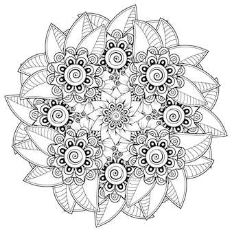 Motif circulaire en forme de mandala avec fleur pour henné, mehndi, tatouage, décoration. ornement décoratif dans un style oriental ethnique. page de livre de coloriage.