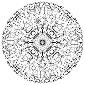 Motif circulaire en forme de mandala avec fleur pour henné, mehndi, tatouage, décoration. ornement décoratif dans un style oriental ethnique.