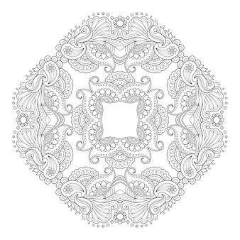 Motif circulaire en forme de mandala avec fleur pour henné, mehndi, tatouage, décoration.