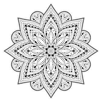 Motif circulaire en forme de mandala. ornement décoratif dans un style oriental ethnique. illustration de dessin de main de doodle de contour.